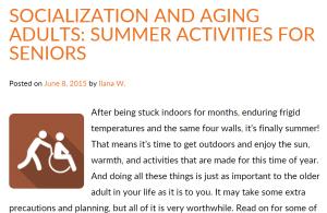 Al tomar el sol (en verano o invierno), hay que tomar precauciones tanto para la persona en silla de ruedas como para quien la cuida http://blog.ioaging.org/caregiving/socialization-aging-adults-summer-activities-for-seniors/
