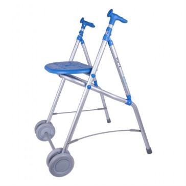 Andador de aluminio anatómico, regulable y plegable ARA-C con asiento - Azul