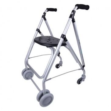 Andador de aluminio ARA PLUS con asiento y frenos de presión - Color negro