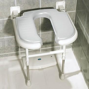 Asiento de pared en U acolchado y abatible con patas para ducha