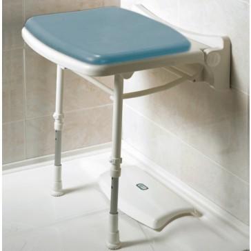 Asiento de pared para ducha con patas acolchado y estrecho