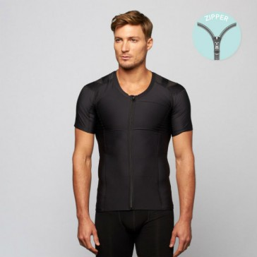 Camiseta postural Posture Shirt Core Zipper negro con cremallera hombre