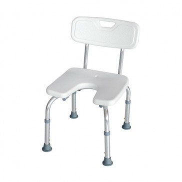 Silla de ducha de aluminio regulable asiento en U