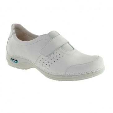 Zapato sanitario de piel lavable blanco