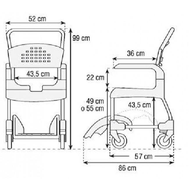 Silla de ducha y wc clean etac ortoweb Medidas silla de ruedas