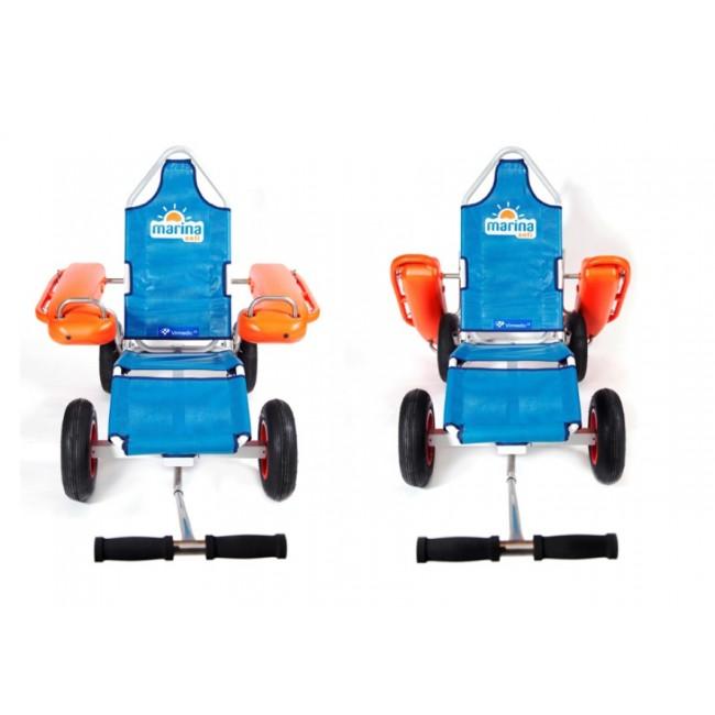 Marina anfi silla de ruedas anfibia para playa ortoweb - Carro para playa transportar sillas ...