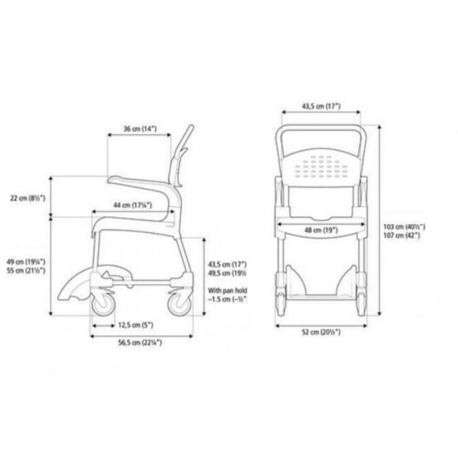 Silla de ducha y wc clean etac ortoweb - Medidas silla ...