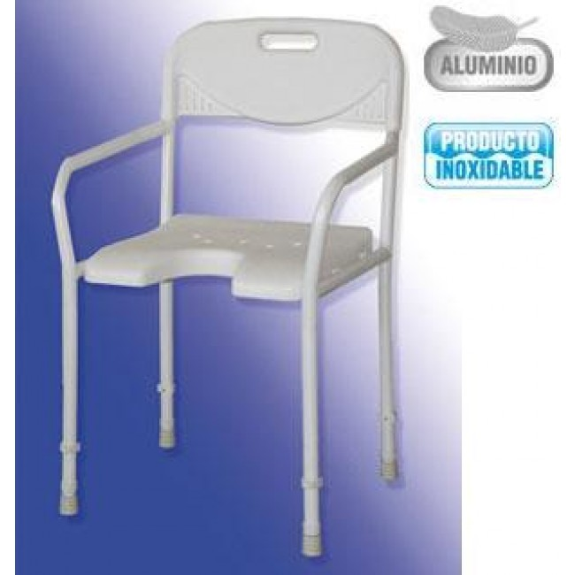 Silla de ducha de aluminio plegable y regulable ortoweb for Sillas para ducha plegables