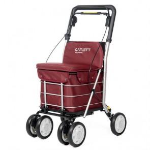 Andador Lett 800 con asiento y carro de la compra - Granate