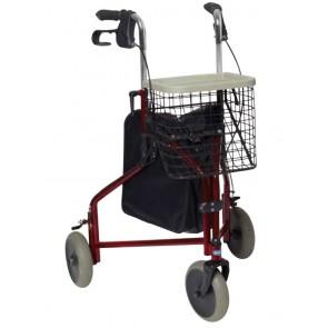 Andador Delta de tres ruedas con bolsa y cesta