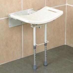 Asiento de pared abatible con patas para ducha