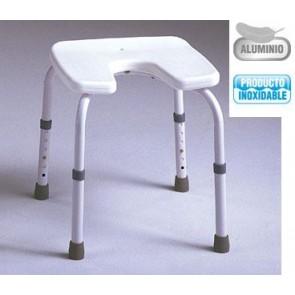 Banqueta de ducha de aluminio regulable asiento en U