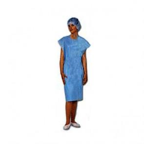 Bata paciente media manga color azul. Caja 100 uds