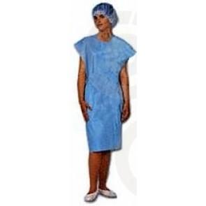 Bata paciente media manga color azul. Caja 100 uds.