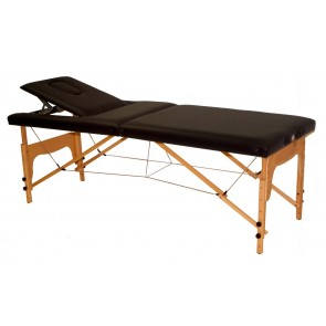 Camilla C130 Reiki plegable de madera regulable en altura con plano inclinado (182x70cm.). Color NEGRO