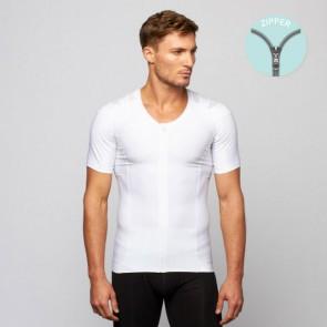 Camiseta postural Posture Shirt Core Zipper blanco con cremallera hombre