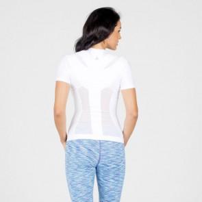 Camiseta postural Posture Shirt Core Zipper blanco con cremallera mujer