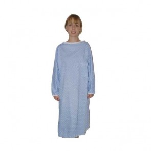 Camisón hospitalario cierre trasero manga larga azul