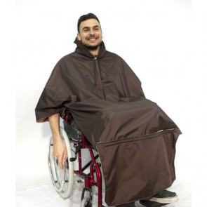 Capa térmica impermeable para silla de ruedas marrón