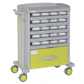 Carro de medicación unidosis con 20 cajetines y cajón inferior 72015