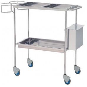 Carro de curas en acero inoxidable con 3 bandejas, un soporte porta curas y un cubo de residuos