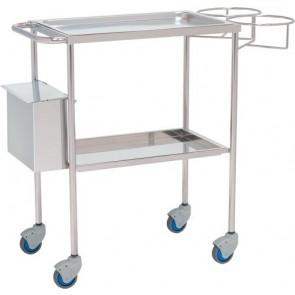 Carro para curas de acero inoxidable con 2 bandejas, soporte para bombonas porta curas y un cubo de residuos
