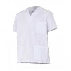 Casaca sanitaria cuello de pico manga corta blanca