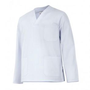 Casaca sanitaria cuello de pico manga larga blanca