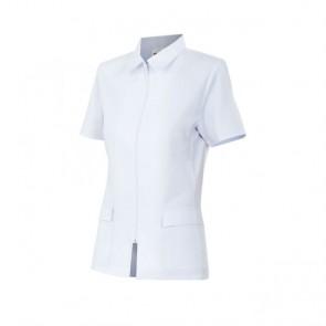 Chaqueta señora manga corta con cremallera - Color blanco