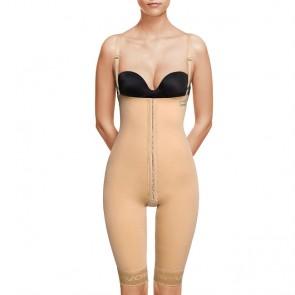 Faja VOE post liposucción por encima de rodillas y abdomen con corchetes