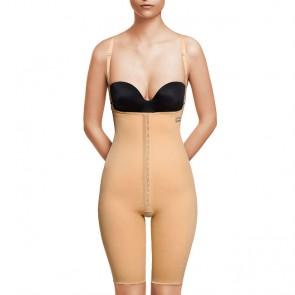 Faja VOE post liposucción por encima de rodillas y abdomen con refuerzos y cierre de corchetes