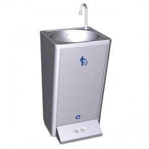 Lavamanos portátil autónomo automático con dos pulsadores para agua fría y caliente en acero inoxidable