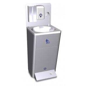 Lavamanos portátil autónomo automático de agua fría y caliente en acero inoxidable