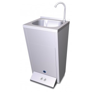 Lavamanos registrable con pedestal y dos pulsadores en acero inoxidable