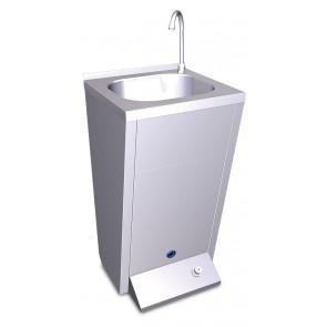 Lavamanos registrable con pedestal y un pulsador en acero inoxidable