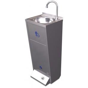 Lavamanos pequeño registrable con pedestal y un pulsador en acero inoxidable