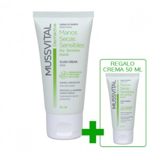 Tubo 50ml crema de manos Mussvital pieles secas y sensibles + regalo crema 50ml