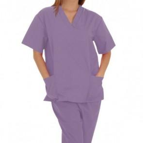 Pijama sanitario unisex manga corta color lila