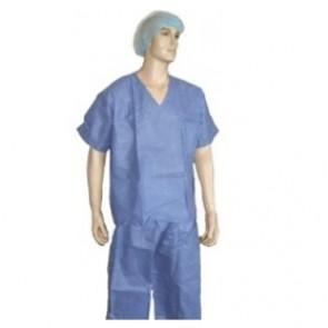 Pijama desechable azul manga corta