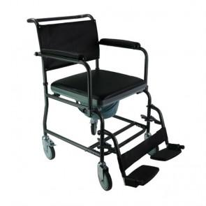 Silla de ruedas para ducha y WC con brazos abatibles y reposapiés extraíbles