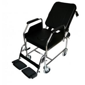Silla de ruedas de acero para interior fija con respaldo reclinable