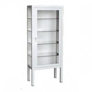 Vitrina con patas y 1 puerta blanca 60x30x140cm.