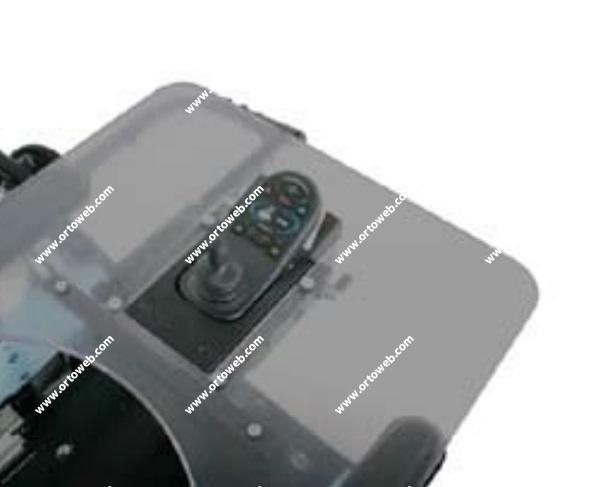 Mesa-bandeja abatible con montaje central del mando(se abate hacia la derecha. Sólo con mandos R-net)
