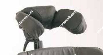 Reposacabezas envolvente con  soporte de mejilla (incluye tensor) ajustable lateralmente