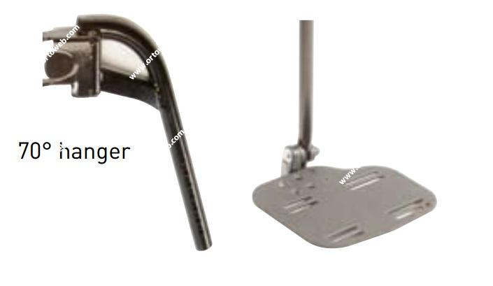 Reposapiés abatibles a 70º, cortos, con plataformas de aluminio ajustables en ángulo y profundidad