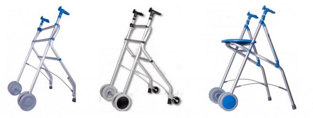 Ayudas para caminar manipuladas por dos brazos: andadores con puño anatómico para interior y exterior