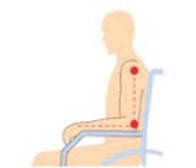 Posición correcta del brazo apoyado en el reposabrazos.